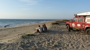 celebrating reaching the coast of Peru