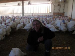 Trudy with turkeys