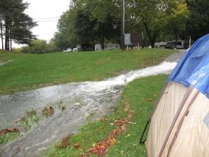 river near tent