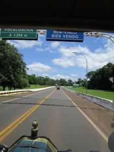 Crossing border into Brazil