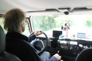 Dirk driving Land Rover