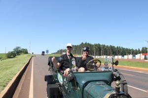 Trudy and Robert in towed Model T
