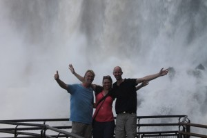 Wouter, Liza and Robert under falls